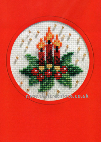 Christmas Candles and Holly Greeting Card Cross Stitch Kit