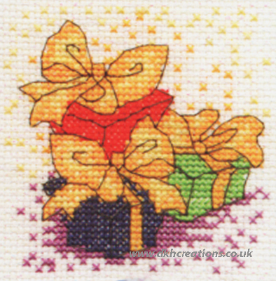 Christmas Presents With Bows Mini Cross Stitch Kit