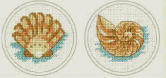 Clam Shell & Conch Shell Cross Stitch Kit