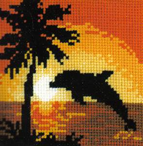 Dolphin At Sunset Cross Stitch Kit