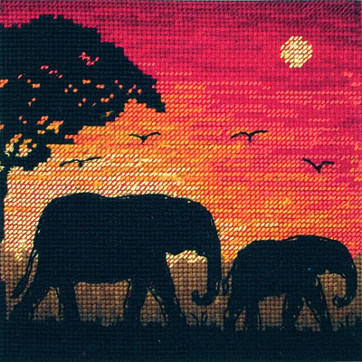 Elephant Silhouette Cross Stitch Kit
