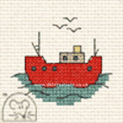 Fishing Boat  By The Seaside Cross Stitch Kit