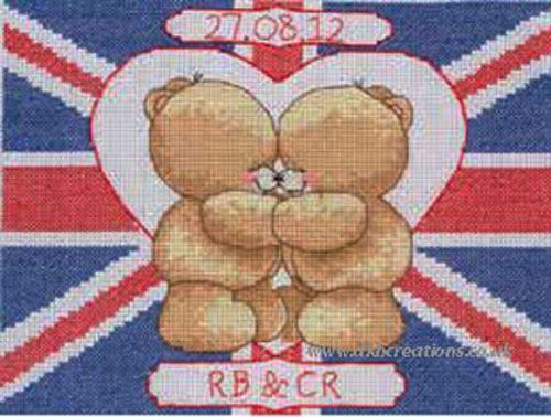 Forever Friends Union Jack Wedding Celebration Cross Stitch Kit