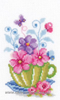 Green Cup With Flowers Cross Stitch Kit