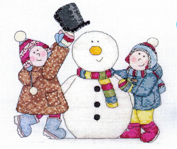 Jolly Nation  Snowman Scene Cross Stitch Kit