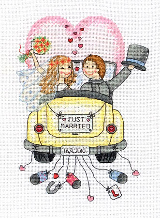 Just Married Wedding Sampler Cross Stitch Kit