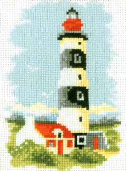 Lighthouse With Black Bands Cross Stitch Kit
