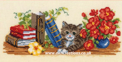 Literate Cat Cross Stitch Kit