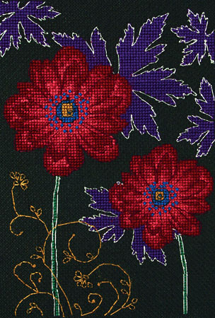 Ornamental Anemones Cross Stitch Kit