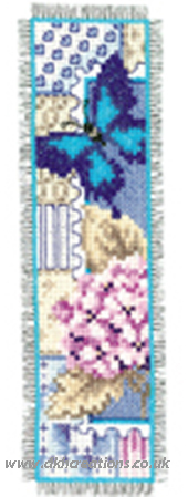 Pink Hydrangea And Butterfly Bookmark Cross Stitch Kit