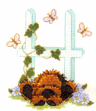 Popcorn Bear Alphabet Biscuits Letter H Cross Stitch Kit