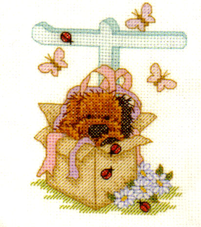 Popcorn Bear Alphabet Biscuits Letter T Cross Stitch Kit