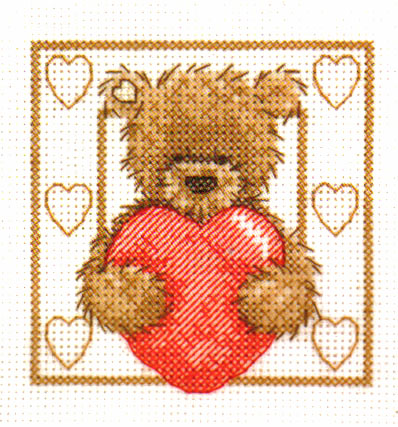 Popcorn Bear Big Heart Cross Stitch Kit
