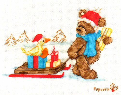Popcorn Bear Bringing Pressies Cross Stitch Kit