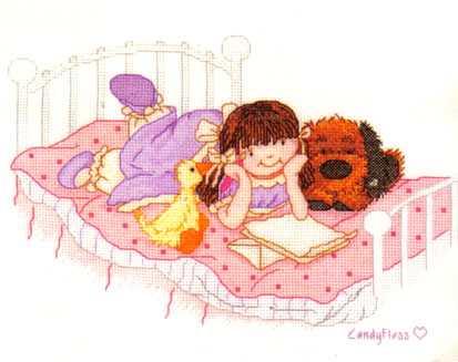 Popcorn Bear Candyfloss Sleepover Cross Stitch Kit