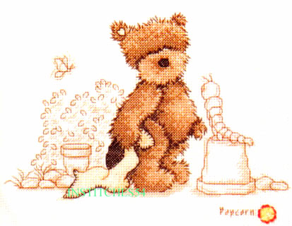 Popcorn Bear & Caterpillar Cross Stitch Kit