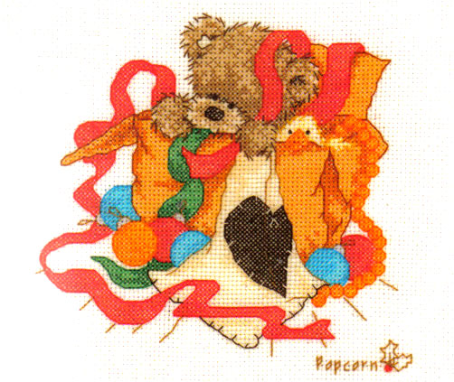 Popcorn Bear Christmas Wrapping Cross Stitch Kit