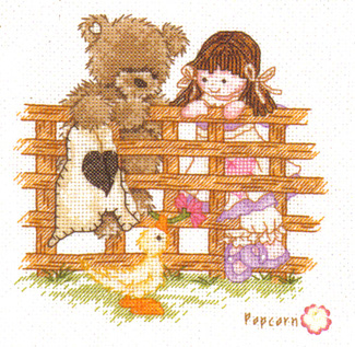Popcorn Bear Friends To Lean On Cross Stitch Kit
