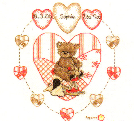 Popcorn Bear Heart Birth Sampler