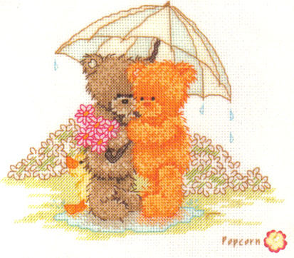 Popcorn Bear & Honey April Showers Cross Stitch Kit