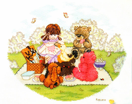 Popcorn Bear The Picnic Cross Stitch Kit