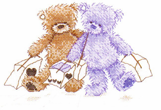 Popcorn Bear The Shopping Trip Cross Stitch Kit