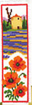 Poppies and Lavender Bookmark Cross Stitch Kit
