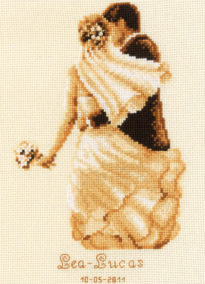 Private Moment Sepia Wedding Sampler Cross Stitch Kit