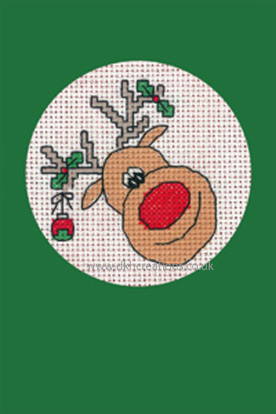Reindeer Christmas Greeting Card Green Cross Stitch Kit
