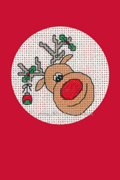 Reindeer Christmas Greeting Card Red Cross Stitch Kit