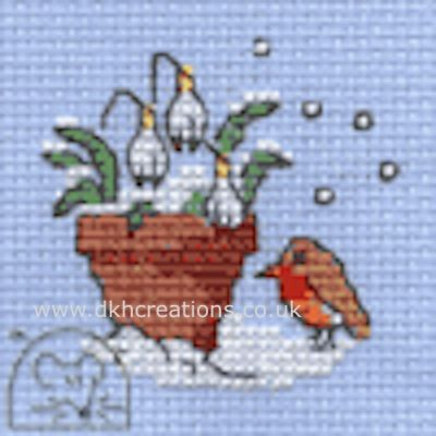 Robin And Snowdrops Cross Stitch Kit