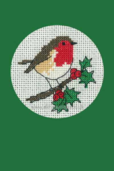 Robin Christmas Greeting Card Green  Cross Stitch Kit