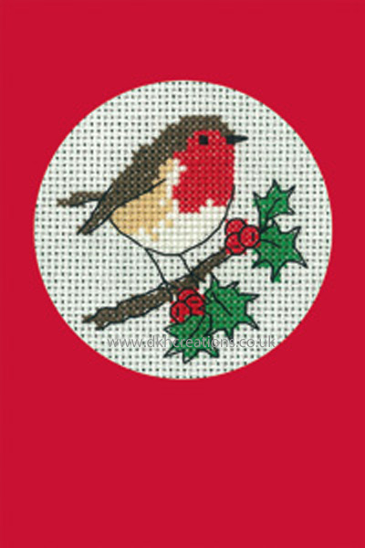 Robin Christmas Greeting Card Red Cross Stitch Kit