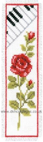 Rose With Piano Bookmark Cross Stitch Kit