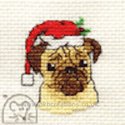 Santa's Pug Cross Stitch Kit