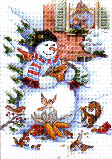 Snowman and Friends Cross Stitch Kit