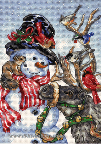 Snowman And Reindeer Cross Stitch Kit