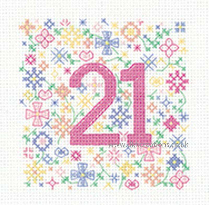 Sue Ryder Occasions 21st Birthday Greeting Card Cross Stitch Kit