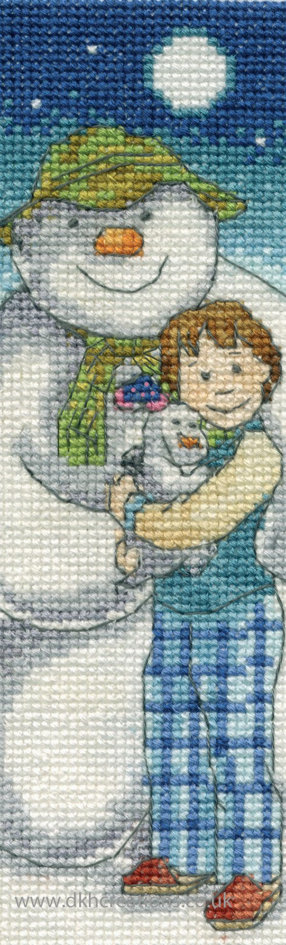 The Snowman And Snowdog In The Moonlight Bookmark Cross Stitch Kit