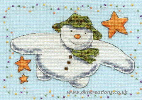 The Snowman Flying With Stars Cross Stitch Kit