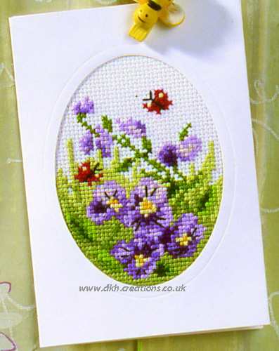 Violets Greeting Card Cross Stitch Kit