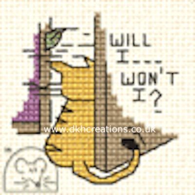 Will I Won't I ?  Biscuit The Cat Cross Stitch Kit