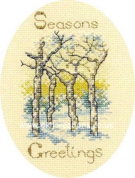 Winter Trees Christmas  Card Cross Stitch Kit