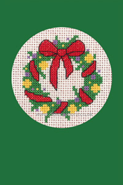Wreath Christmas Greeting Card Green Cross Stitch Kit