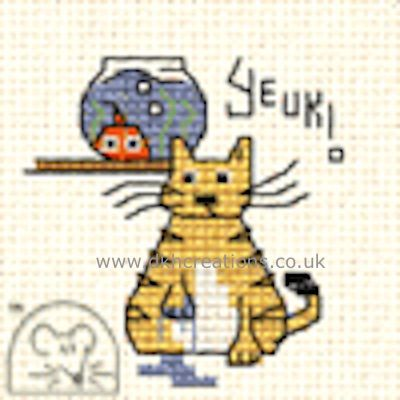 Yeuk ! Biscuit The Cat Cross Stitch Kit